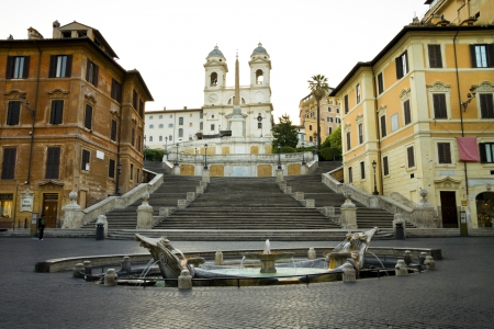 at town square: The Spanish Steps in Rome, Italy.