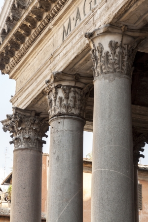 neoclassic: Classic doric style column at the Pantheon in Rome, Italy.
