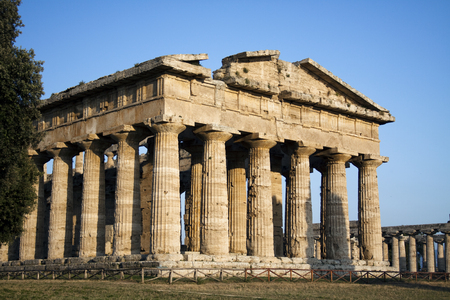 classical greece: Ancient ruins of greek temple dedicated to the god Hera, Paestum, Naples, Italy.  Stock Photo