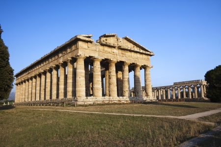 naples: Ancient ruins of greek temple dedicated to the god Hera, Paestum, Naples, Italy.  Stock Photo