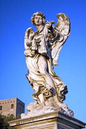 catholic angel: Angel with Scourge in Ponte SantAngelo, Rome, Italy Stock Photo