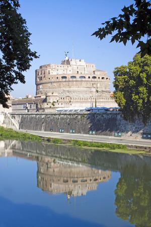 tevere: Reflection of Castel SantAngelo from left side of river Tiber, Rome, Italy