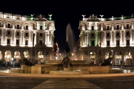 semicircular: Night view of Piazza della Repubblica. Its a semi-circular piazza in Rome, at the summit of the Viminal Hill, next to the Termini station.