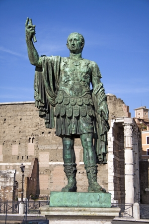 Marcus Cocceius Nerva Caesar Augustus, 8 November 30 – 27 January 98, was Roman Emperor from 96 to 98. Statue in bronze with Trajans Market as background. Editorial