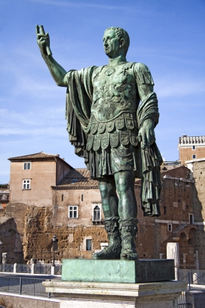 despotism: Marcus Cocceius Nerva Caesar Augustus, 8 November 30 - 27 January 98, was Roman Emperor from 96 to 98 after Christ. Statue in bronze with Trajans Market as background.