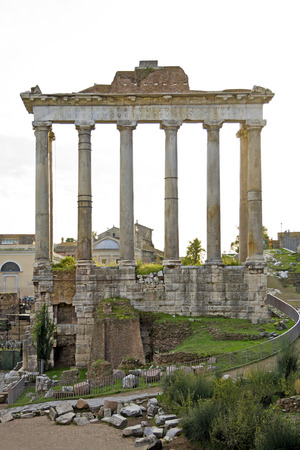unrecognisable: Detail of unrecognisable temple at the Fori Imperiali in Rome, Italy Stock Photo