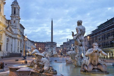 Sunrise and view of Piazza Navona in Rome, Italy