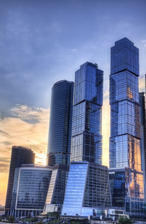 Moscow city, high dinamic range process, sundown.