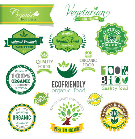 Biological and Natural Farm Fresh vector crests, icons and badges  Illustration