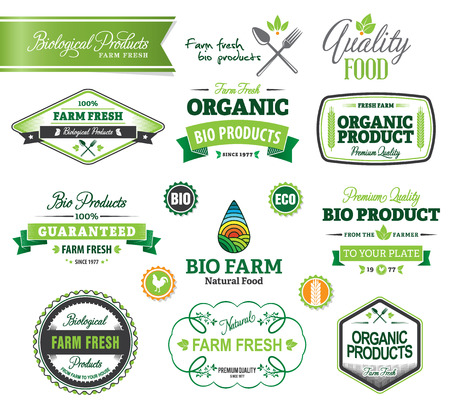 Set of vector organic badges and labels Vector
