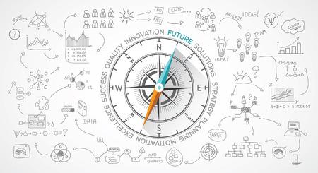 pensamiento estrategico: Compás del vector sobre el marketing y la vida