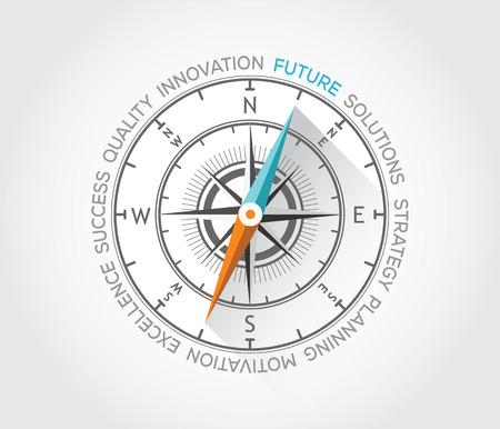 managment: Vector compass about future