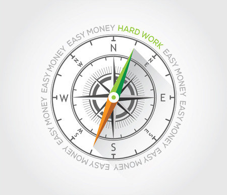 Vector compass about hard work Stock Vector - 27919970