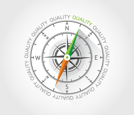 Vector compass about quality Vector