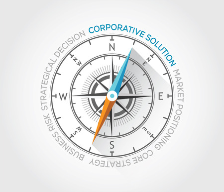 Vector compass about corporative solutions Illustration