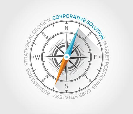 Vector compass about corporative solutions Иллюстрация
