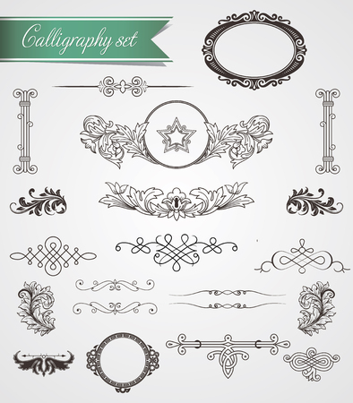 Calligraphy and vintage frame decorations Vector