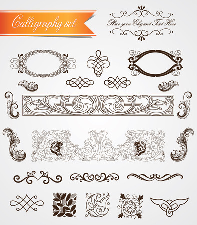 Set of real vintage baroque frames and frills Vector