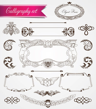Vector calligraphy and vintage frames collection Vector