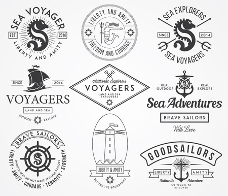 Vector sea badges for any use Ilustracja