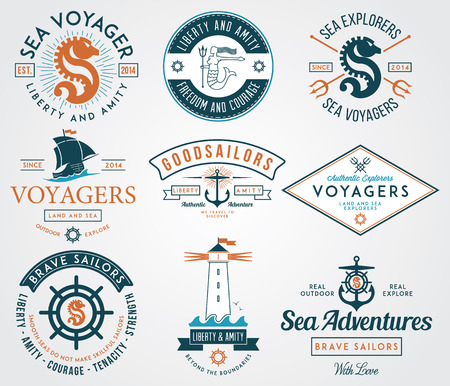 Vector sea badges for any use Ilustrace