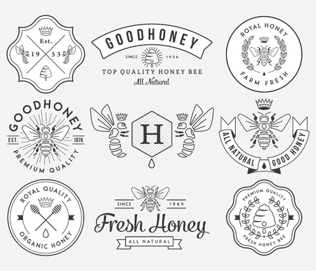 bee honey: Honey and bees vector badges and labels for any use.
