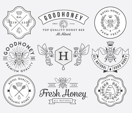 miel de abeja: Miel y abejas vectores insignias y etiquetas para cualquier uso.