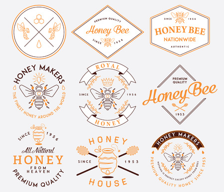Honey and bees vector badges and labels for any use.