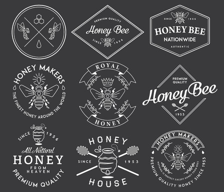 bee pollen: Honey and bees vector badges and labels for any use.
