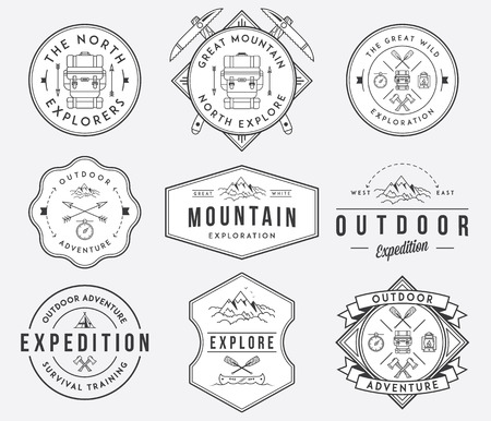 hiking mountain: Exploration vector badges and labels for any use