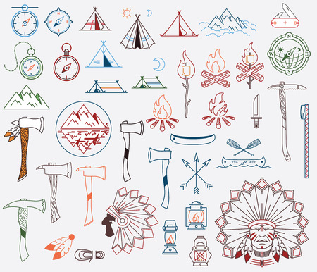 Survival and camping vector signs and symbols