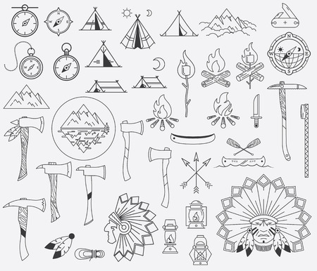 Survival and camping vector signs and symbols Vector
