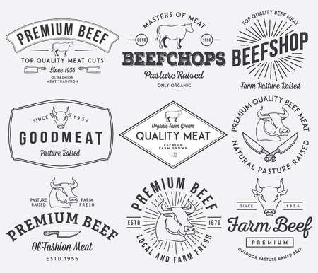 bull market: Vector quality beef badges and labels for any use