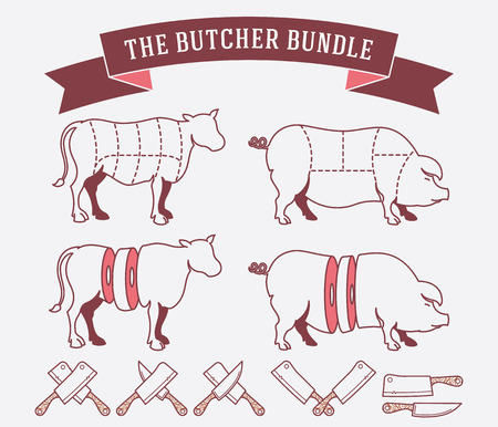 meat knife: Vector quality beef badges and labels for any use