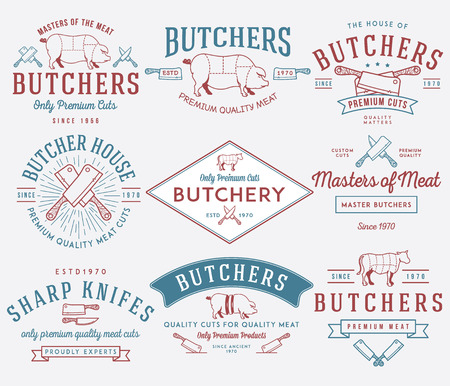 Vector Metzger Fleisch Abzeichen und Etiketten für die weitere Verwendung