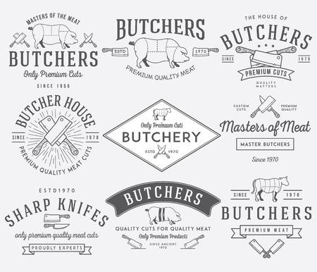 ベクトル肉屋肉バッジとラベルの使用