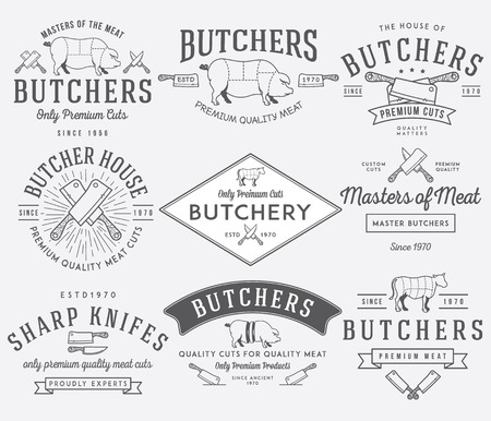 meat knife: Vector butcher meat badges and labels for any use