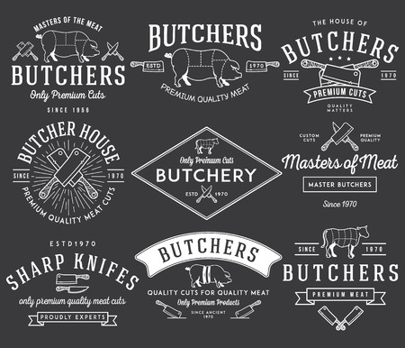 butcher knife: Vector butcher meat badges and labels for any use
