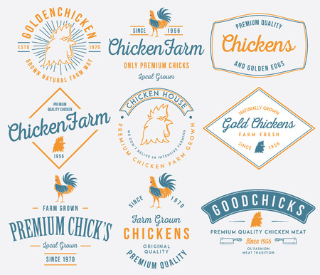 Vector quality chicken badges and labels for any use 矢量图像