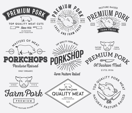Vector pork meat badges and labels for any use Vector