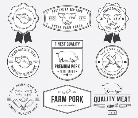 Vector pork meat badges and labels for any use