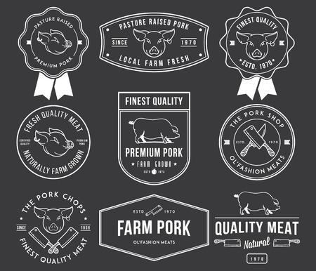 carnicero: Insignias de carne de cerdo vector y etiquetas para cualquier uso Vectores