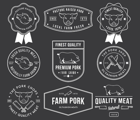 meat knife: Vector pork meat badges and labels for any use