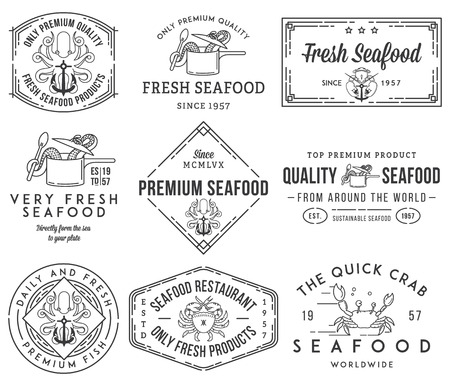 Black on white seafood labels and badges vol. 1 for any use