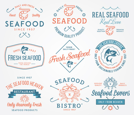 mariscos: Etiquetas de mariscos de colores e insignias vol. 2 para cualquier uso