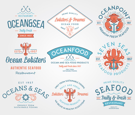 badge icon: Colored seafood labels and badges vol. 3 for any use