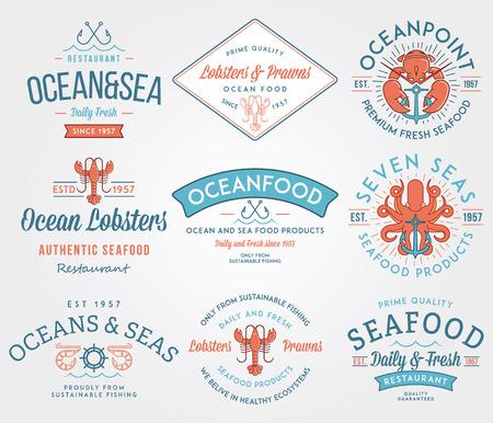 mariscos: Etiquetas de mariscos de colores e insignias vol. 3 para cualquier uso