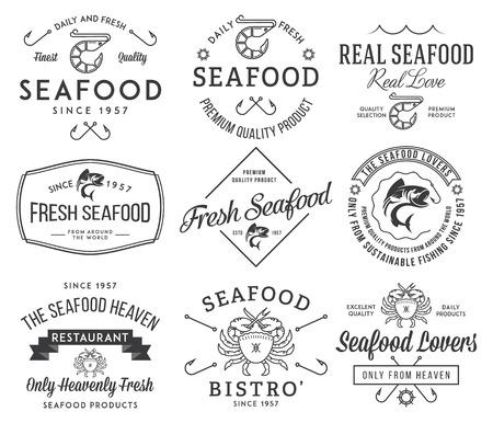 comidas: Negro en las etiquetas de los mariscos blancos, insignias vol. 2 para cualquier uso