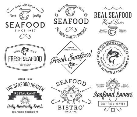 Black on white seafood labels and badges vol. 2 for any use Vettoriali