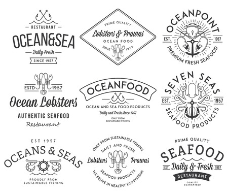 fresh seafood: Black on white seafood labels and badges vol. 3 for any use